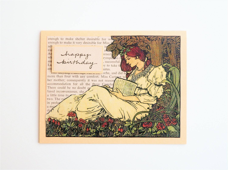 handmade birthday card perfect for a jane austen reader art