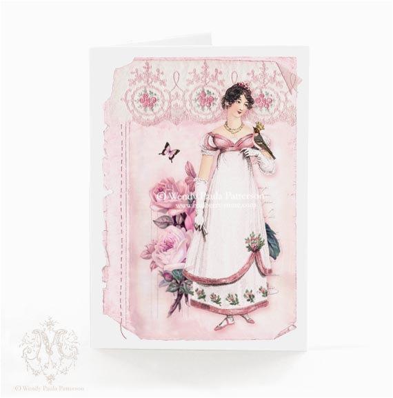 jane austen card regency emma pink roses vintage by
