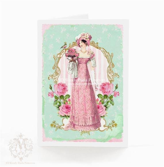 Jane Austen Birthday Card Jane Austen Regency Card Birthday Card Pretty Friendship