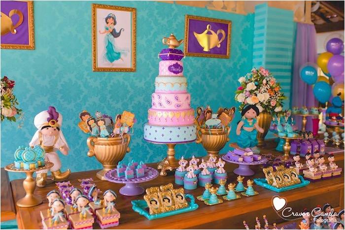 colorful princess jasmine birthday party