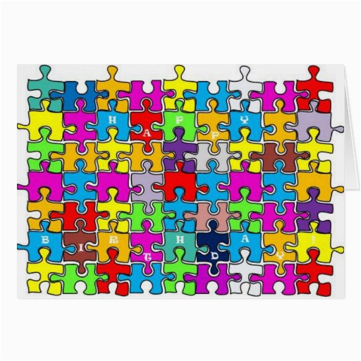 Jigsaw Puzzle Birthday Card Happy Birthday Jigsaw Greeting Card Zazzle