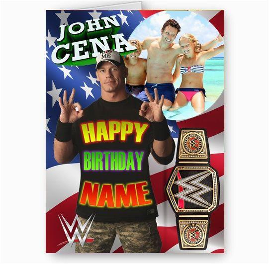 any photo personalised wwe john cena a5 all happy birthday card 8808 p