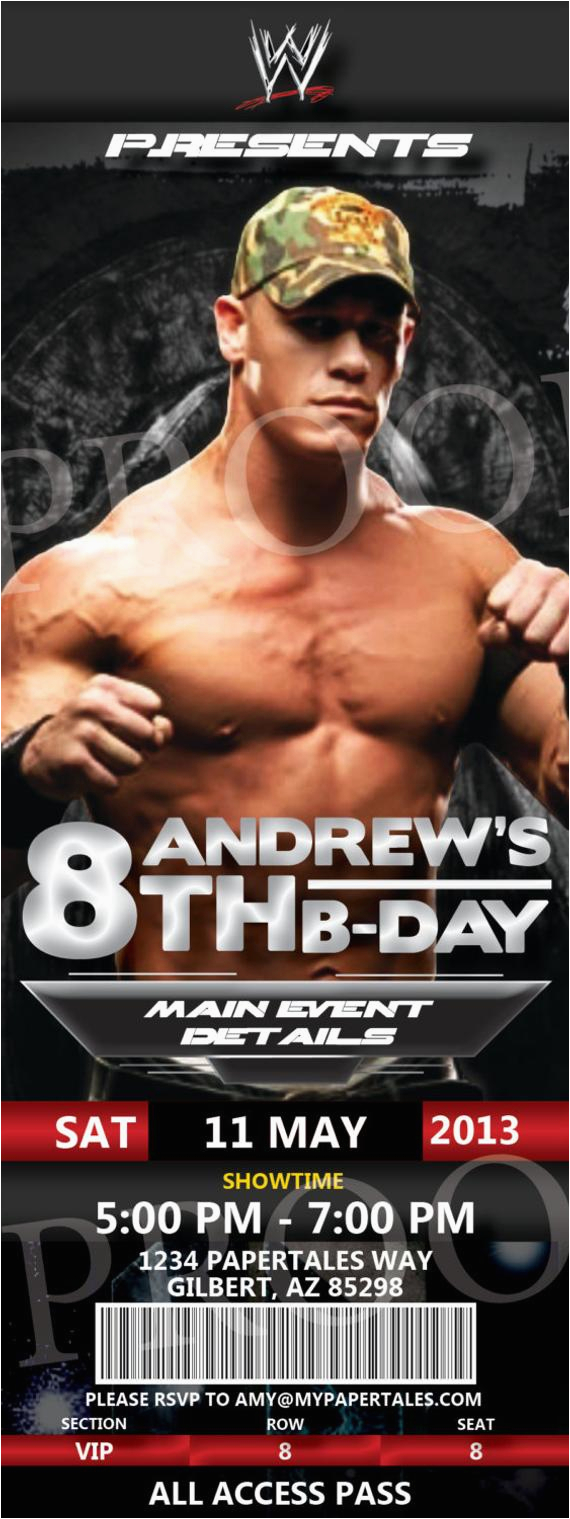 graphic regarding Wwe Birthday Invitations Printable Free identified as John Cena Birthday Invites Tna and Wwe Wrestling