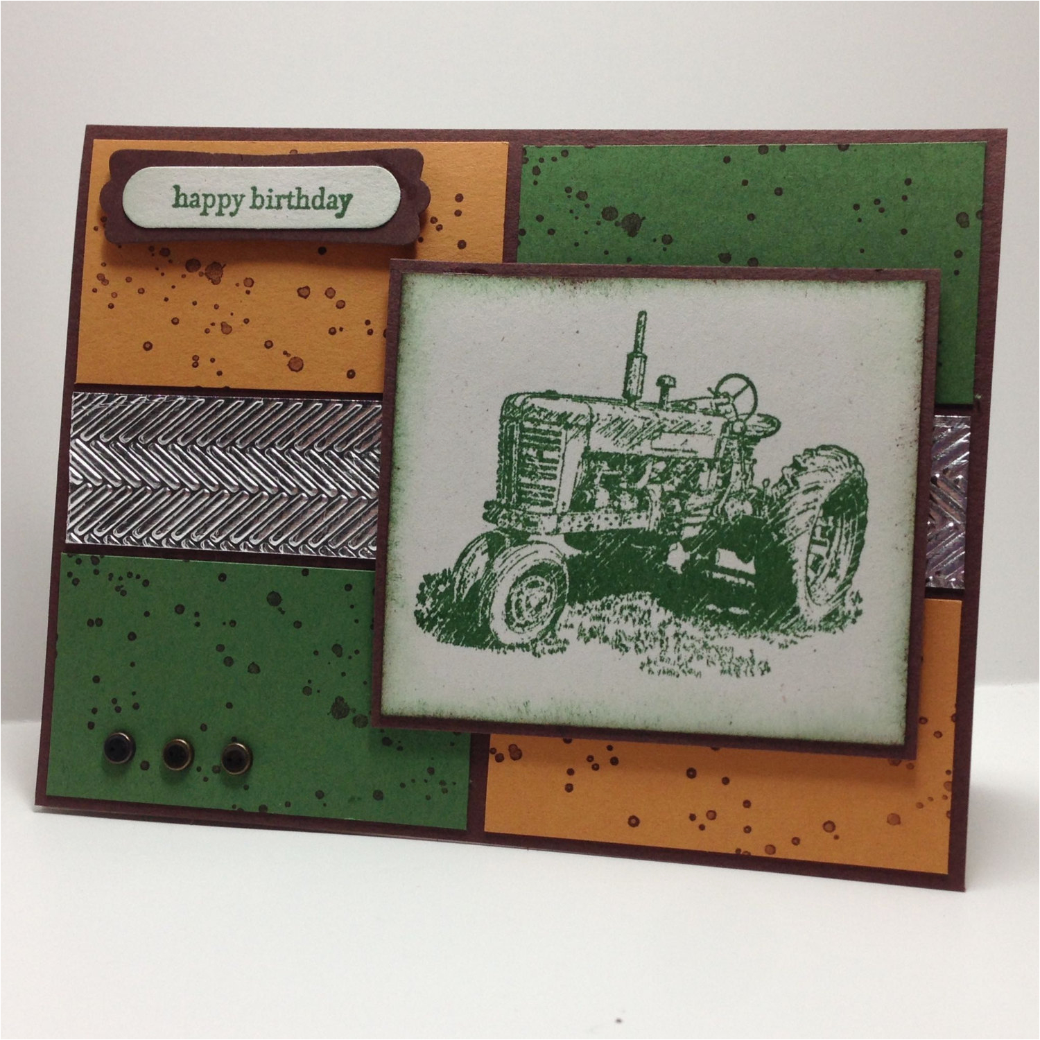 john deere tractor hand stamped greeting card big green