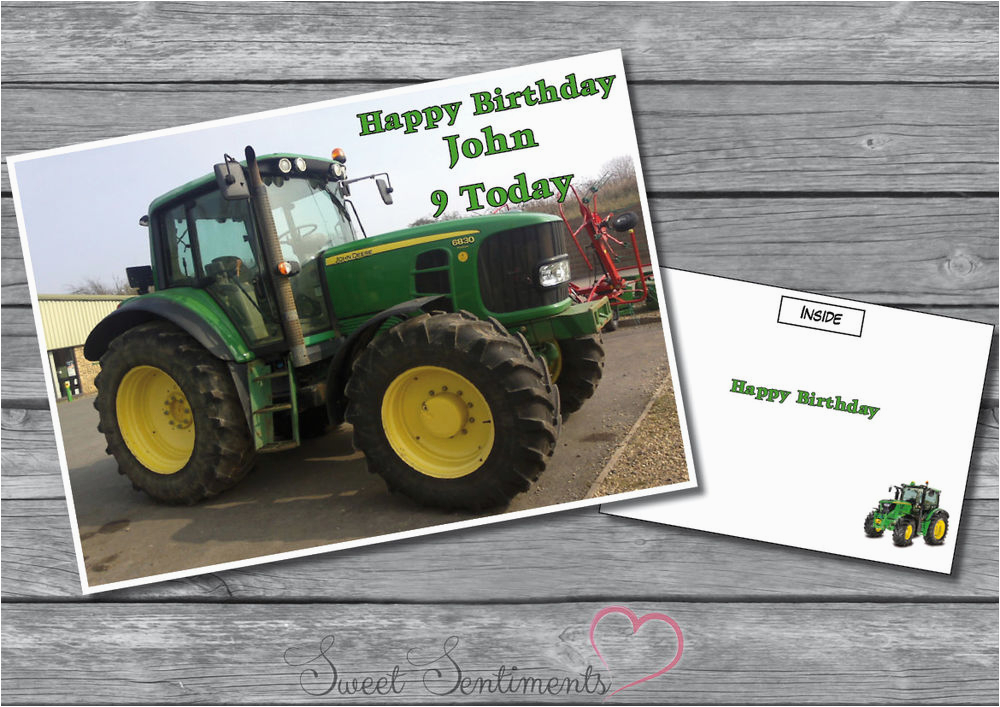 John Deere Birthday Cards Personalised Tractor Card A5 Large