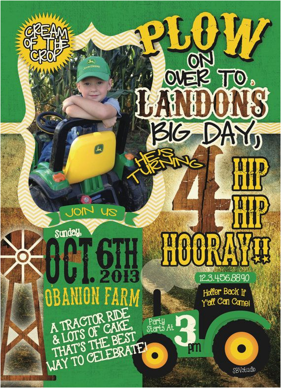 John Deere Birthday Invitation Templates Free 366 Best Images About Party On Pinterest