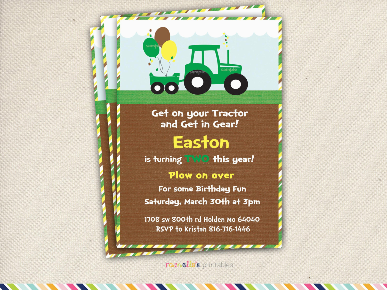 John Deere Birthday Invitation Templates Free Invites Tractor Invitations Celebrate