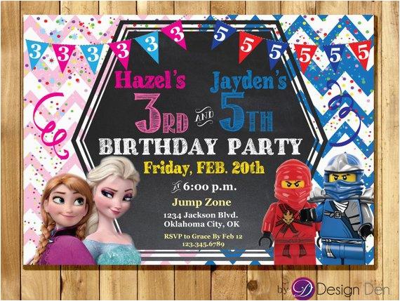 Joint Birthday Invites Frozen And Ninja Party Invitations Ninjas