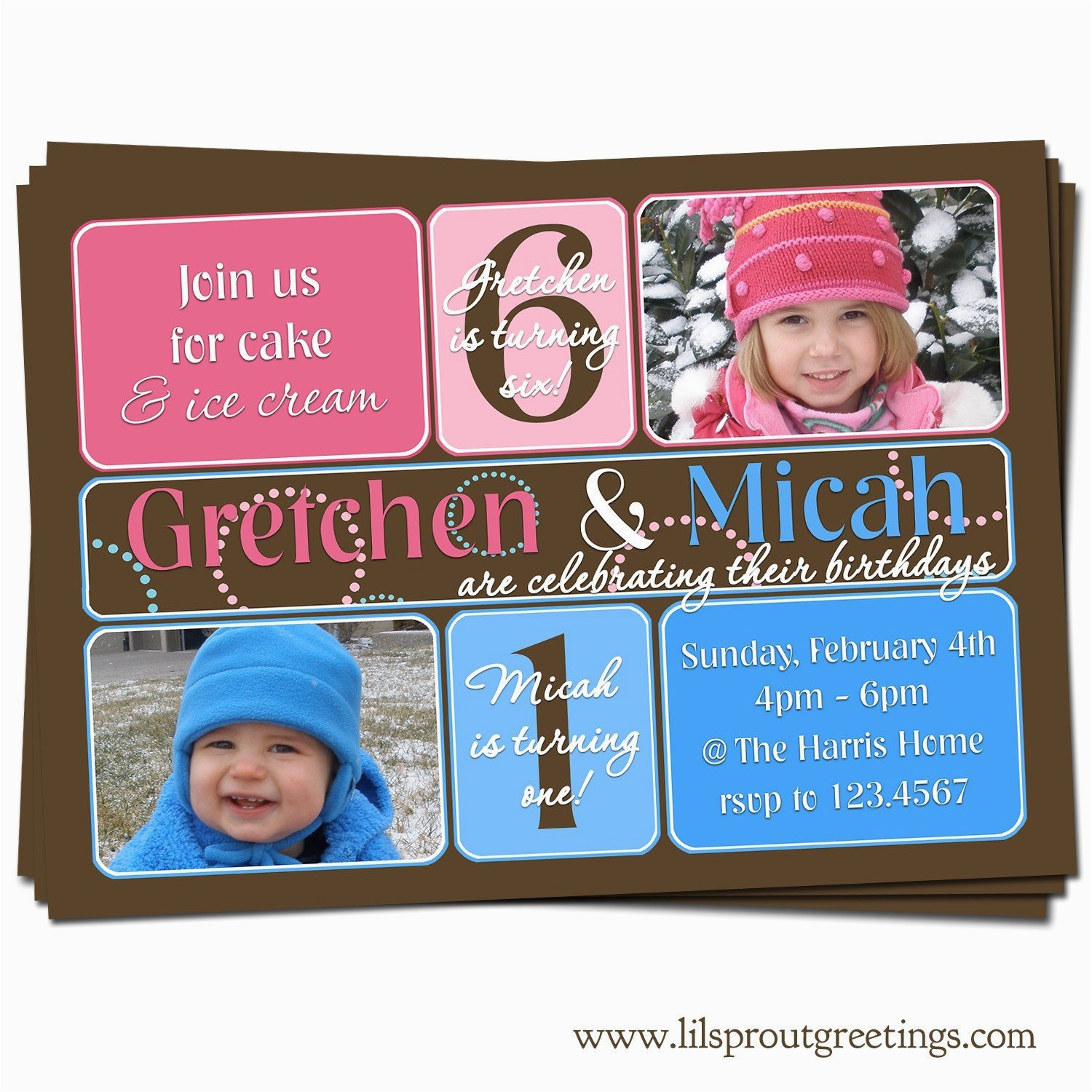 Joint Birthday Invites Joint Twin Birthday Party Photo Invitation Boy and Girl