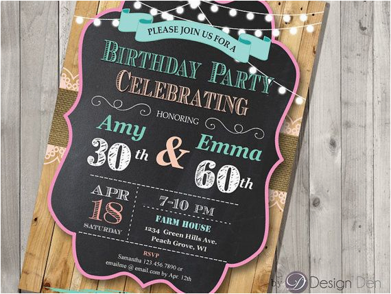 Joint Birthday Party Invitations For Adults Adult Invitation Chalkboard Country Chic