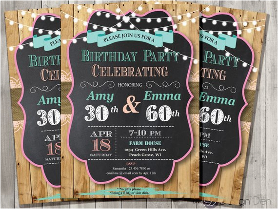 adult joint birthday invitation chalkboard country chic