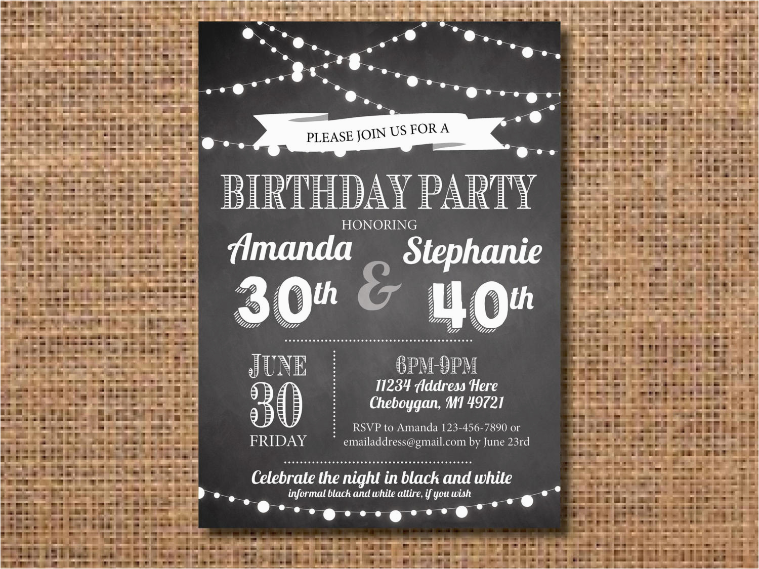adult joint birthday party invitation black and white