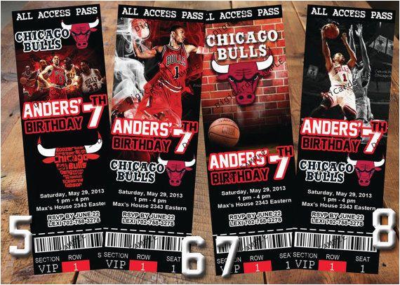 Jordan Birthday Invitations Nba Chicago Bulls Birthday Party Invitations Basketball