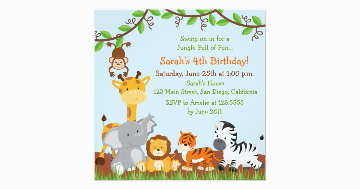 Jungle Theme Birthday Invitation Template Birthdaybuzz