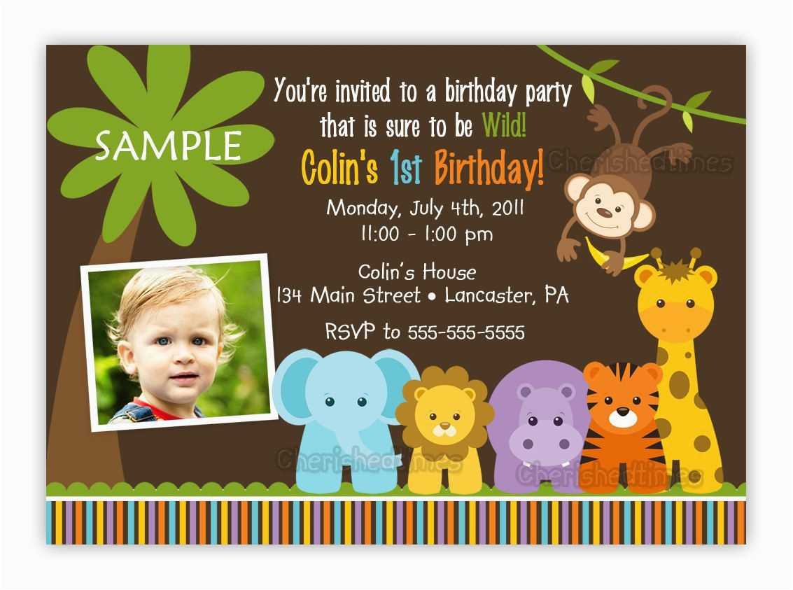 Jungle Theme Birthday Invitation Template Themed 1st Party Invitations