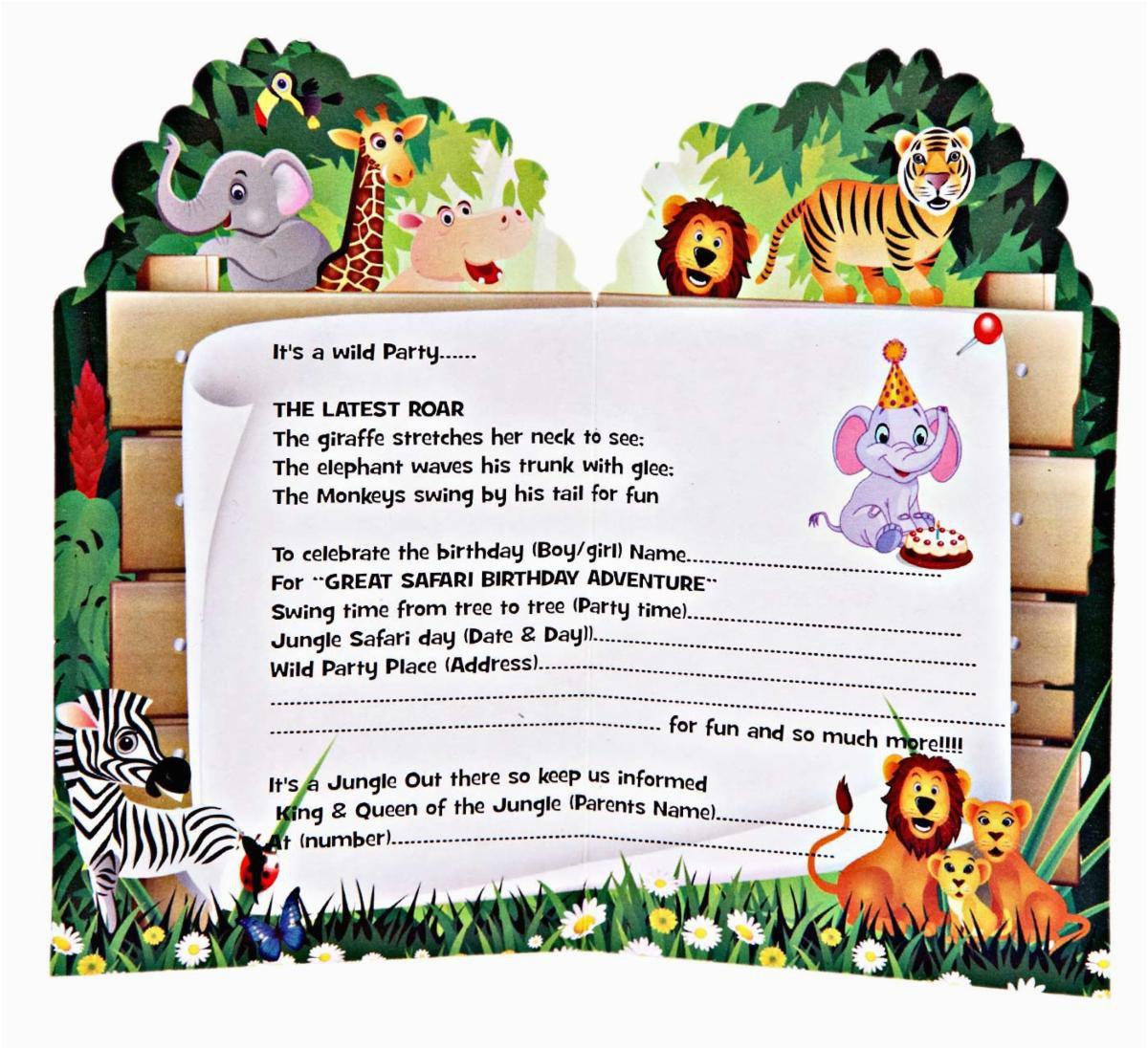 Jungle Themed Birthday Party Invitations 1st Safari