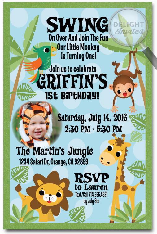 Jungle Themed First Birthday Invitations