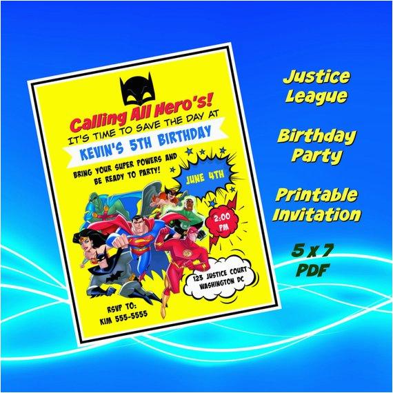 Justice League Birthday Invitations Printable Birthdaybuzz