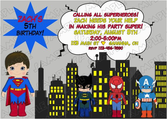 Justice League Birthday Invitations Printable Superman Superhero Inspired Party