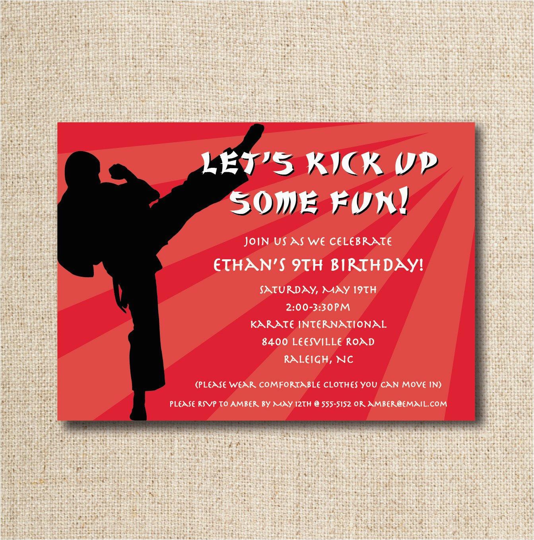 karate birthday party invitation custom
