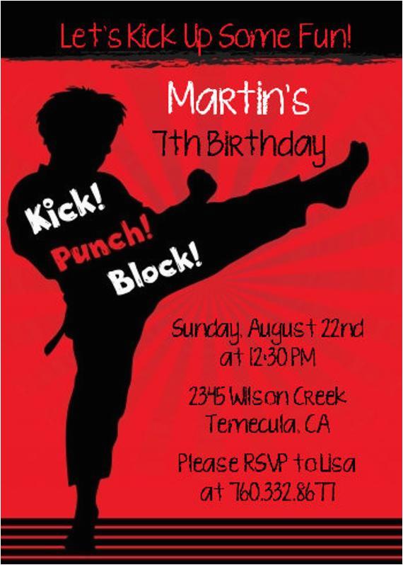 karate printable birthday party