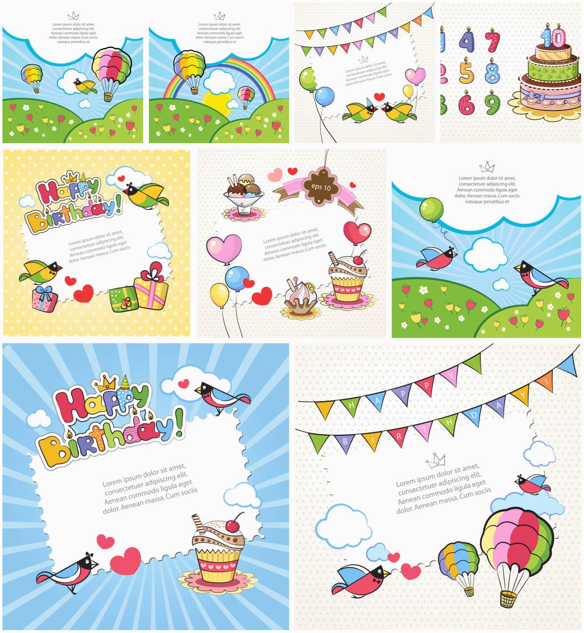 Kids Birthday Cards To Print Vector Graphics Blog