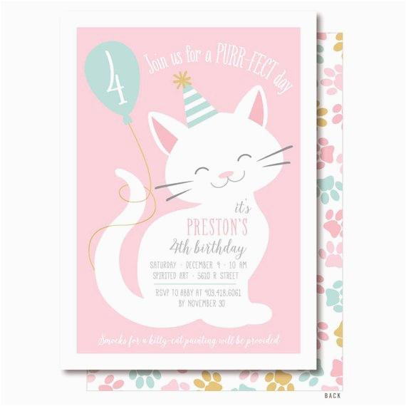 cat invitation pink cat birthday party