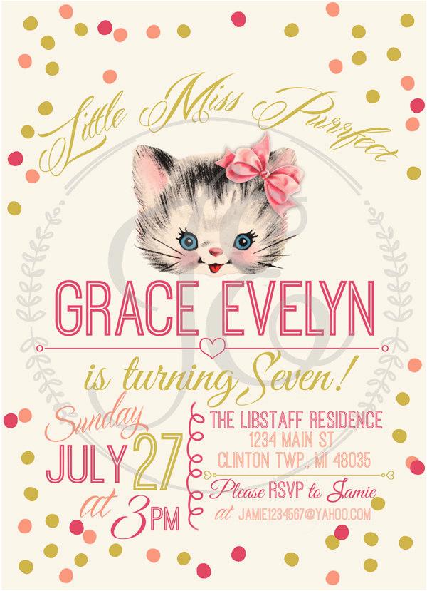 kitty cat birthday party invitation