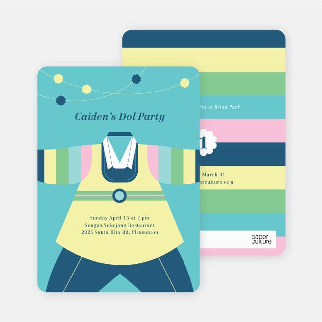 korean dol first birthday invitations p 8744