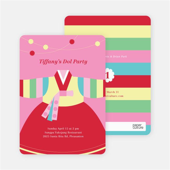 korean dol first birthday invitations p 8745