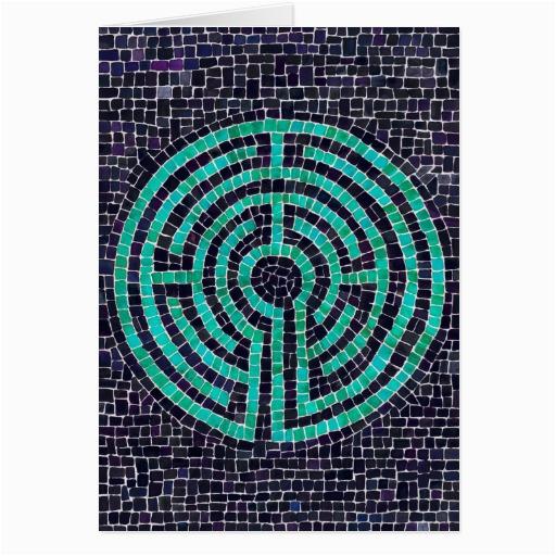 labyrinth mosaic iii greeting card zazzle