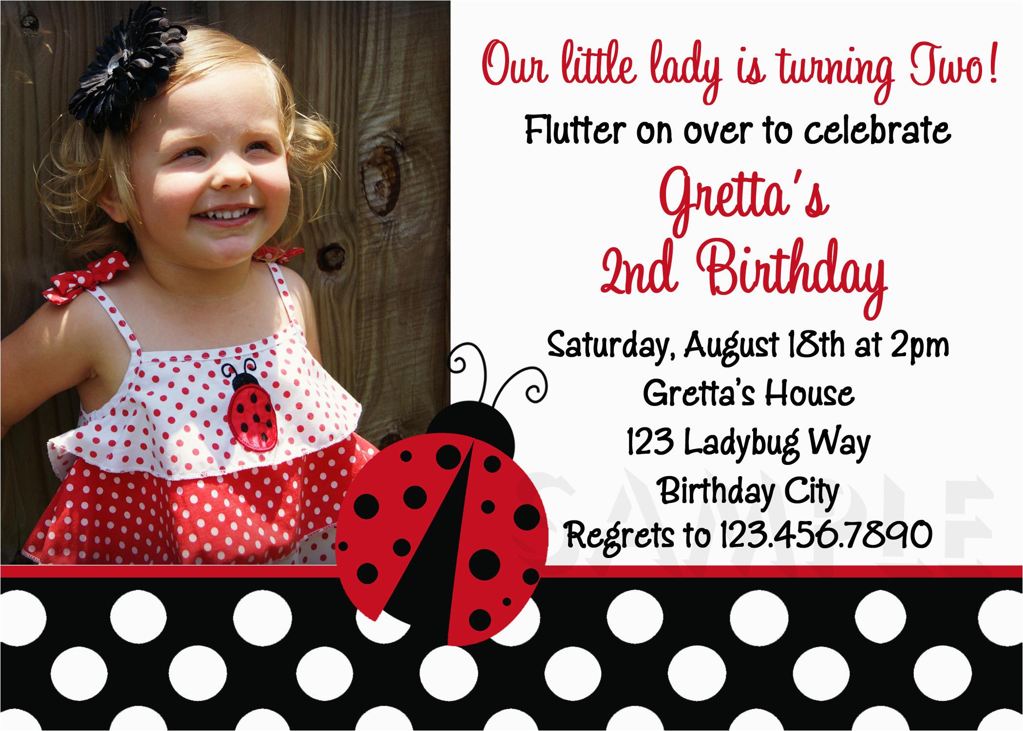 ladybug polka dots red photo birthday invitations