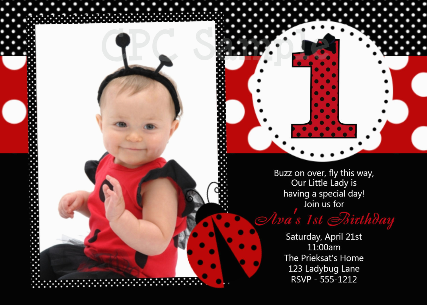 ladybug birthday invitation 1st birthday