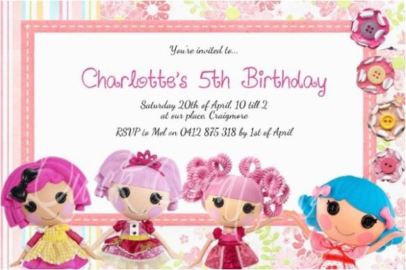 Lalaloopsy Birthday Card Childrens Invitations