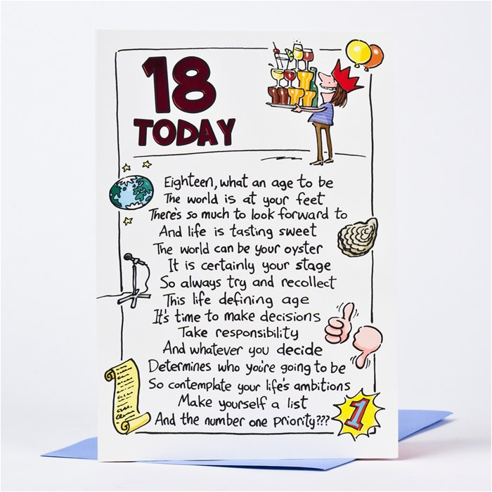 18th birthday card humorous 18 today