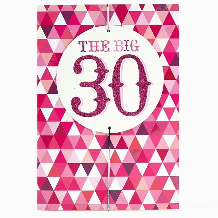 30th birthday card big 30 in pink