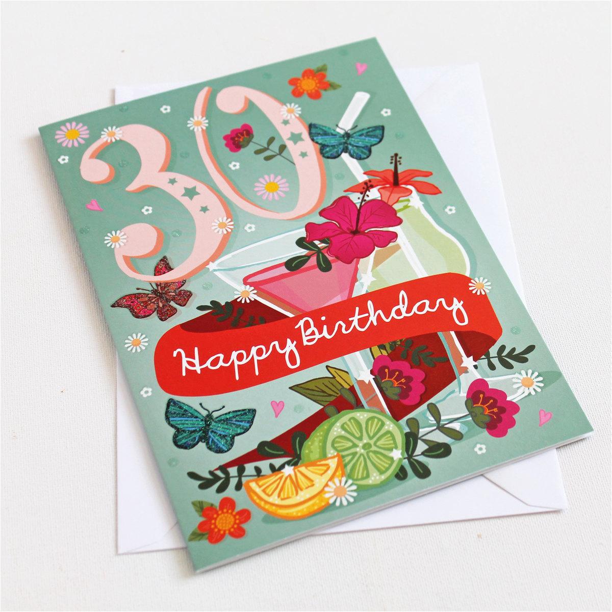 30th birthday card large a5 female birthday card happy