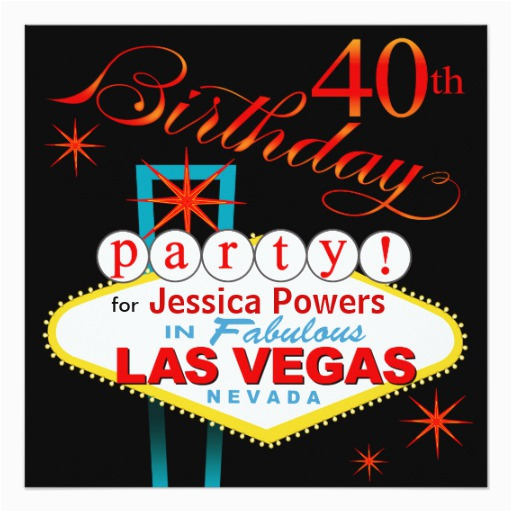 Las Vegas Themed Birthday Cards 40th Party 5 25x5 25 Square
