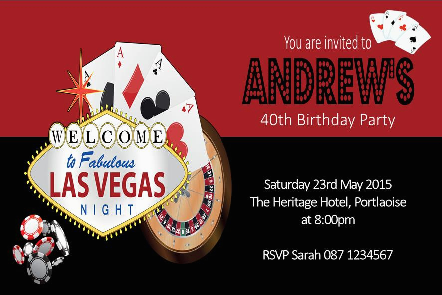 Las Vegas Themed Birthday Cards Personalised Casino Invitation