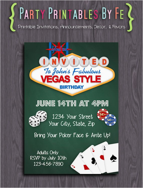 blank casino party invitation template