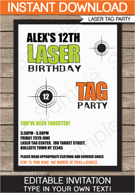 Laser Tag Birthday Invitation Templates Free Laser Tag Party Invitations Template Free Cimvitation