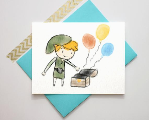 legend of zelda toon link birthday card by turtlessoup on etsy