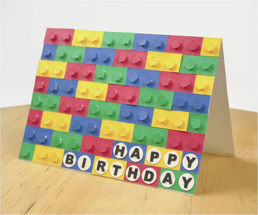 3d paper lego birthday card