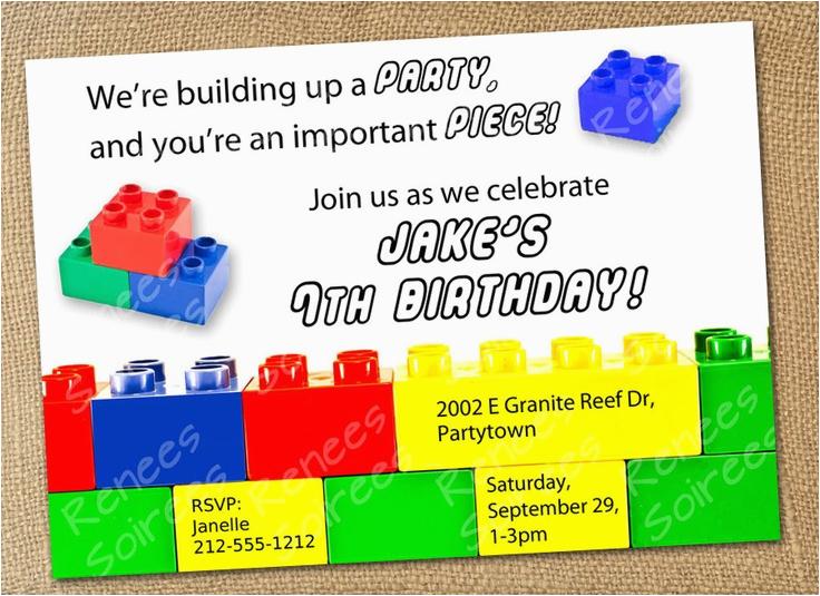 Lego Birthday Invitation Wording Building Brick Invitation Boy or Girl Printable