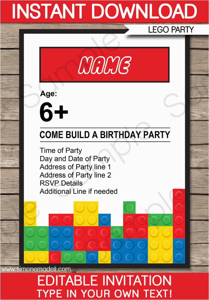 6 best images of lego printable invitation templates