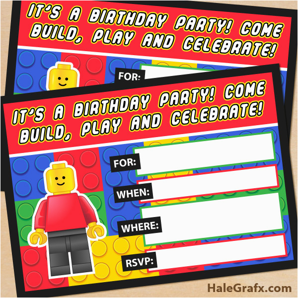 Lego Birthday Party Invitations Online Free Printable Building Blocks Invitation