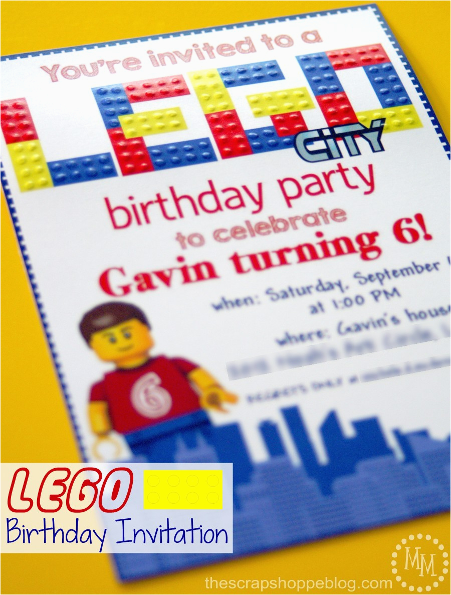 Lego City Birthday Invitations Lego Birthday Invitations the Scrap Shoppe
