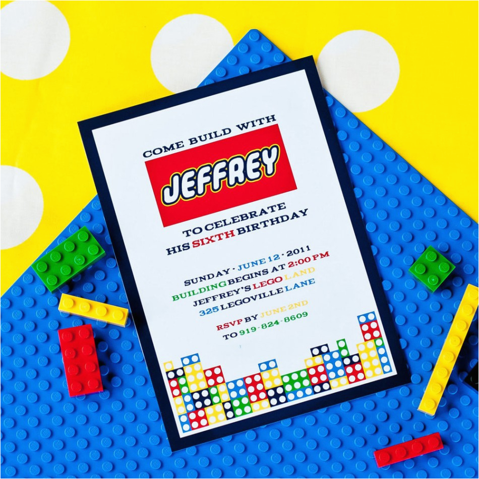 Lego Themed Birthday Invitation Card Invitations Free Ideas Egreeting Ecards