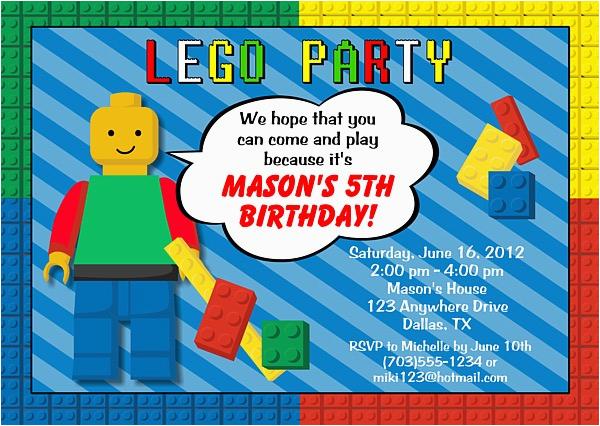 Lego themed Birthday Invitation Card Lego Birthday Party Invitations Construction Kids Birthday