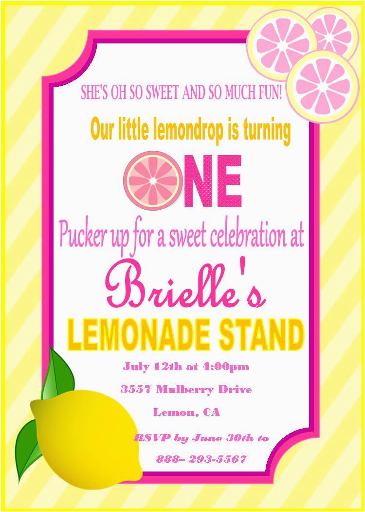 pink lemonade birthday invitation pink